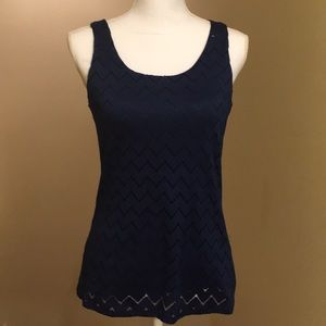 Navy blue chevron knit Banana Republic top